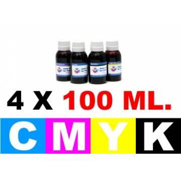 Pack 4 botellas de 100 ml. tinta para cartuchos para HP 364 cmyk
