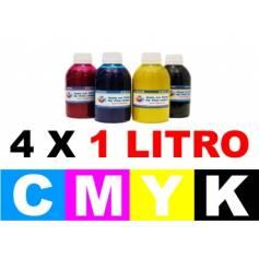 Pack 4 botellas 1 litro tinta pigmentada para plotter Epson bkcmy