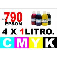 Epson 790 pack 4 botellas 1 L. CMYK
