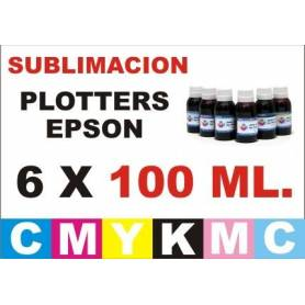 6 botellas 100 ml. de tinta de sublimacion para plotters 42 pulgadas