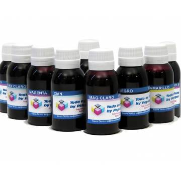 8 botellas 250 ml. tinta pigmentada para cartucho Hp 38