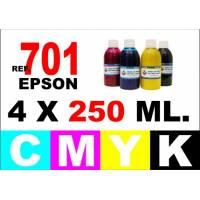 Epson 701, 701 XL pack 4 botellas 250 ml. CMYK