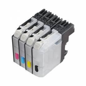 Brother LC123 LC125 4 cartuchos transparentes recargables sin chip