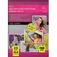 297X210MM A4 Dual Glossy Inkjet Photo Paper 260g-20 Fogli