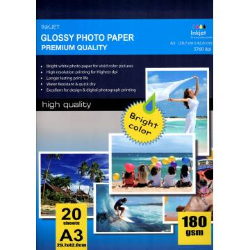 420x297mm a3 high glossy inkjet photo paper 180g 20 hojas