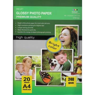 297X210MM A4 High Glossy Inkjet Photo Paper 240g-20 hojas