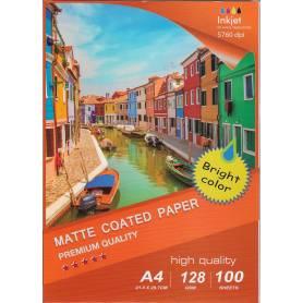 Matte Coated Inkjet Paper , 128g/m2 A4 100 Fogli