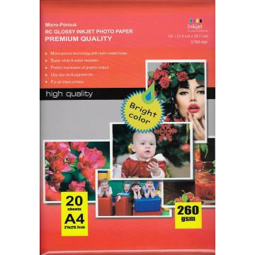 297x210mm a4 rc glossy inkjet photo paper 260g 20 hojas