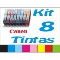 Maxi Kit Pro recarga cartuchos tinta Canon CLI-8 y BCI-6 color, 8 tintas