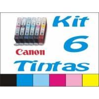 Maxi Kit Pro recarga cartuchos tinta Canon CLI-8 y BCI-6, 6 tintas BkCCpMMpY