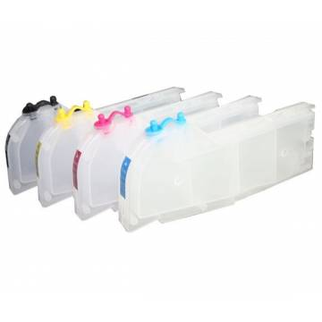 Para Brother lc980 lc985 lc1100 4 cartuchos transparentes recargables gran capacidad