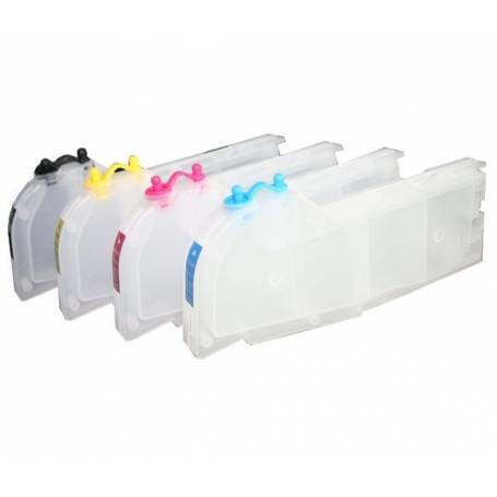Brother LC-980, LC-985 LC-1100 4 cartuchos transparentes recargables gran capacidad