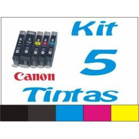Maxi Kit Pro recarga cartuchos tinta Canon PGI-520 CLI-521, 5 tintas
