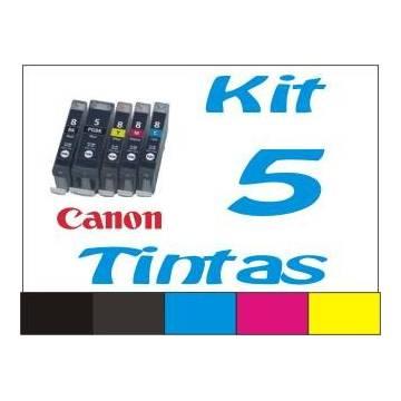 Maxi Kit Pro recarga cartuchos tinta para Canon PGI-520 CLI-521, 5 tintas