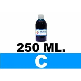 250 ml. tinta CIAN cartuchos Brother LC123 LC900 LC985 LC1000 LC1100 LC1240